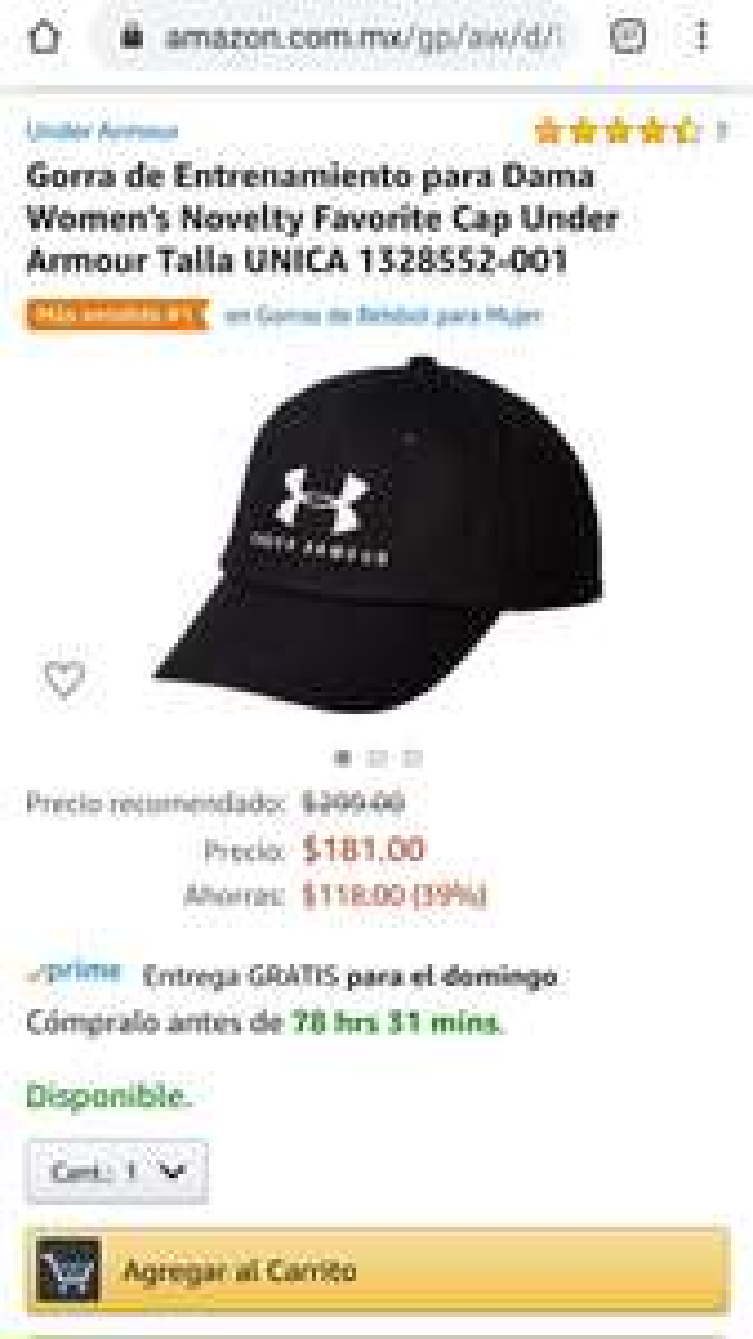 Amazon: Gorra under armour para dama