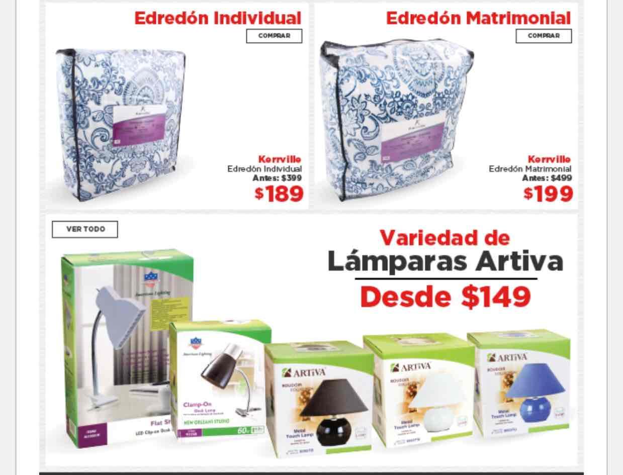 HEB tienda en línea: Edredón individual a $189, matrimonial a $199, lámparas desde $149
