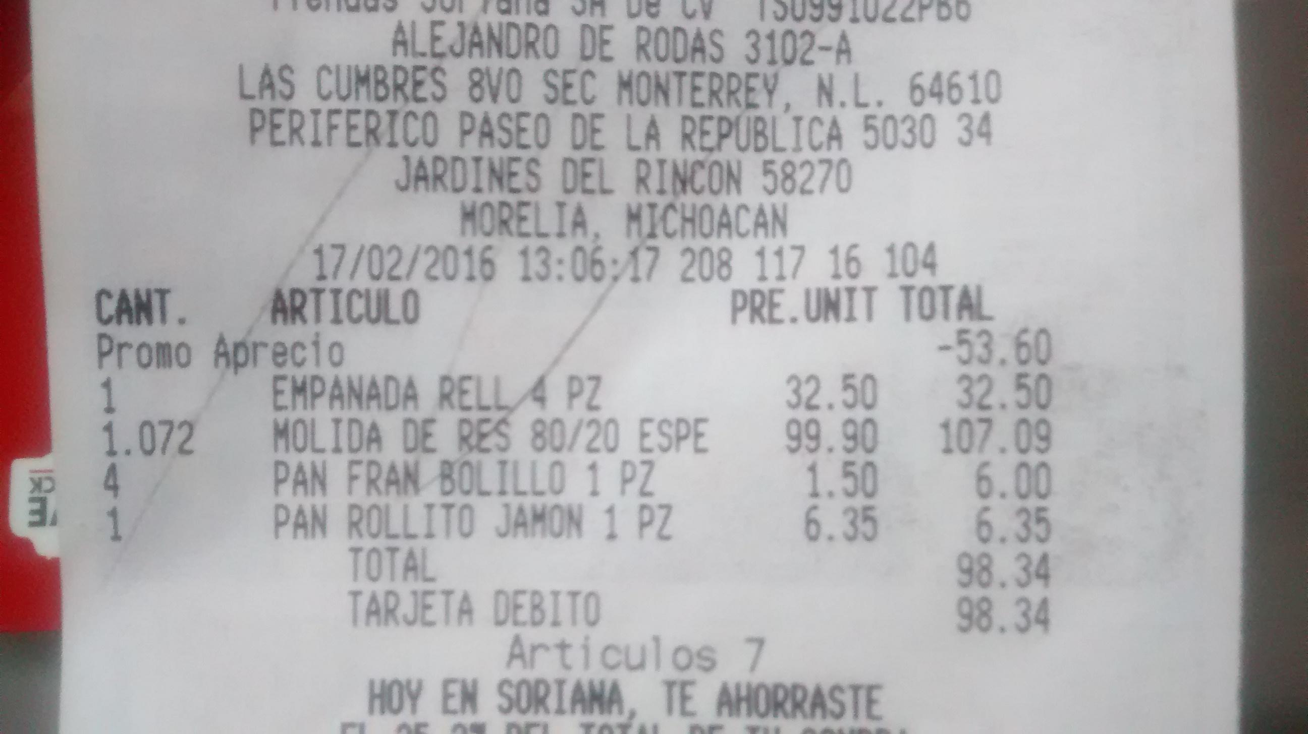 Soriana: empanadas rellenas 2x1 (c/u $10) y 4 (osea 8) x $32.5