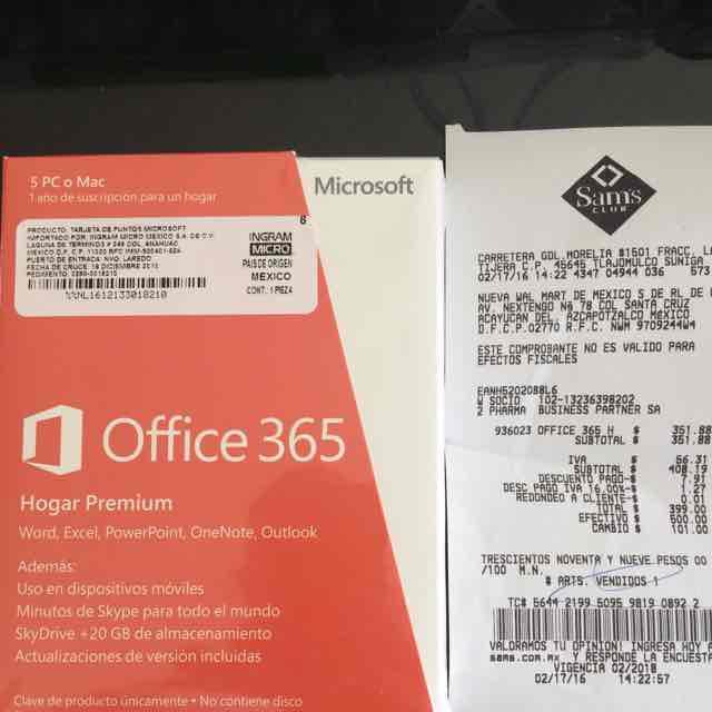 Sam's Club: Office 365 hogar a $399