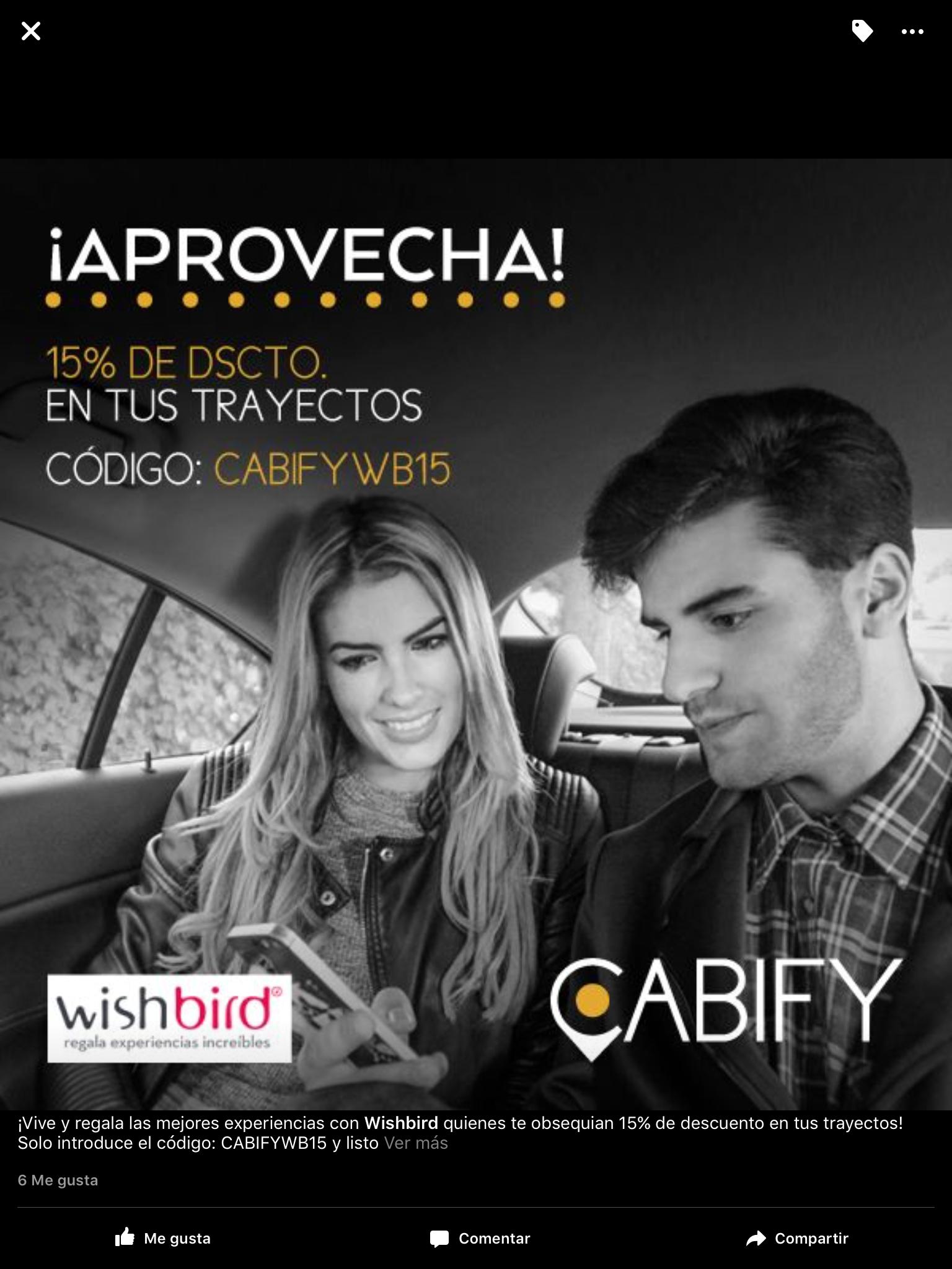 Cabify: 15% de descuento en trayectos con cupon CABIFYWB15