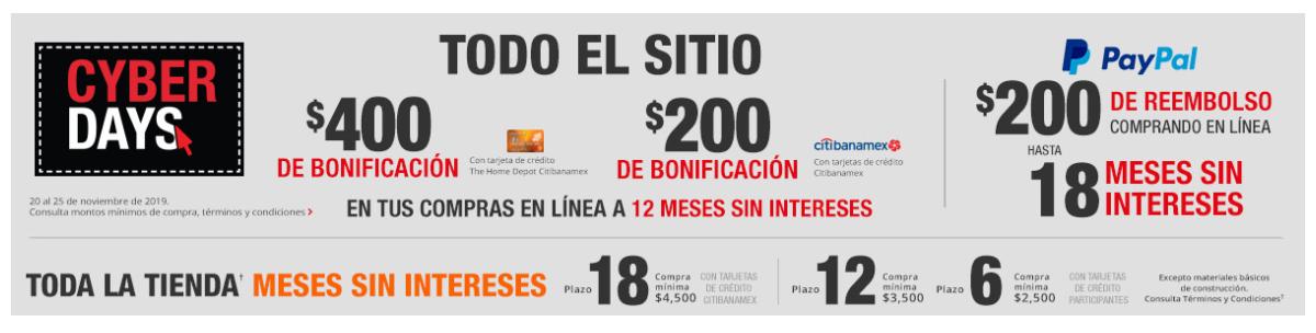 CyberDays Homedepot: $400 de bonificación con Tarjeta Homedepot, $200 bonificación con Citibanamex, $200 reembolso paypal