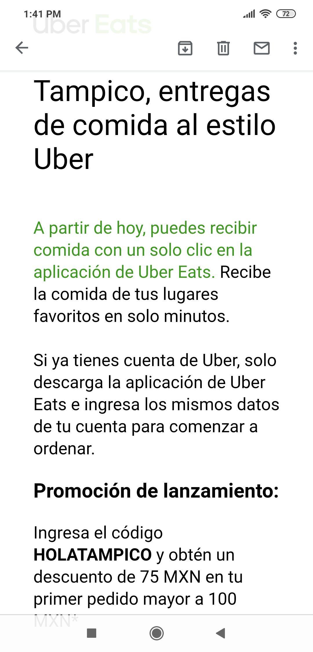Uber eats Tampico $75 de descuento