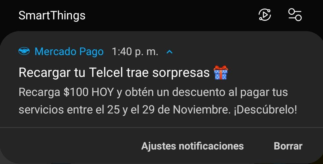 Mercado pago. Recarga Telcel hoy para tener descuento en servicios el 25 noviembre