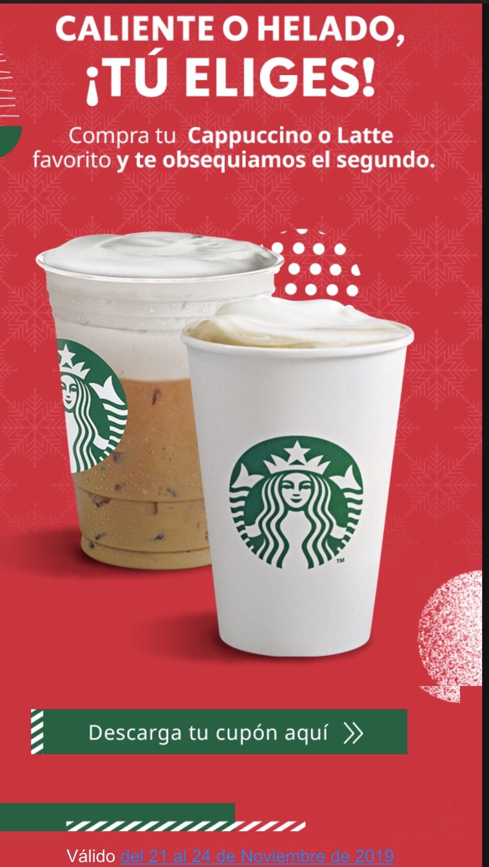 Starbucks: 2x1Latte o Cappuccino