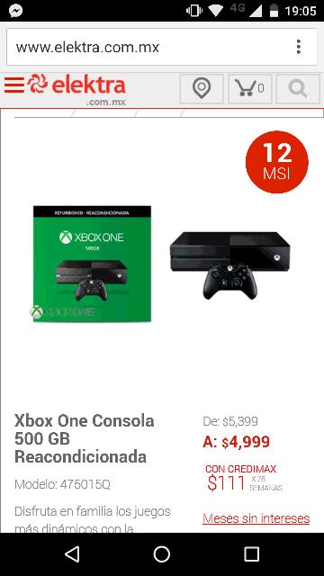 Elektra Online: Xbox One reacondicionado de 500GB a $4,499 con cupón