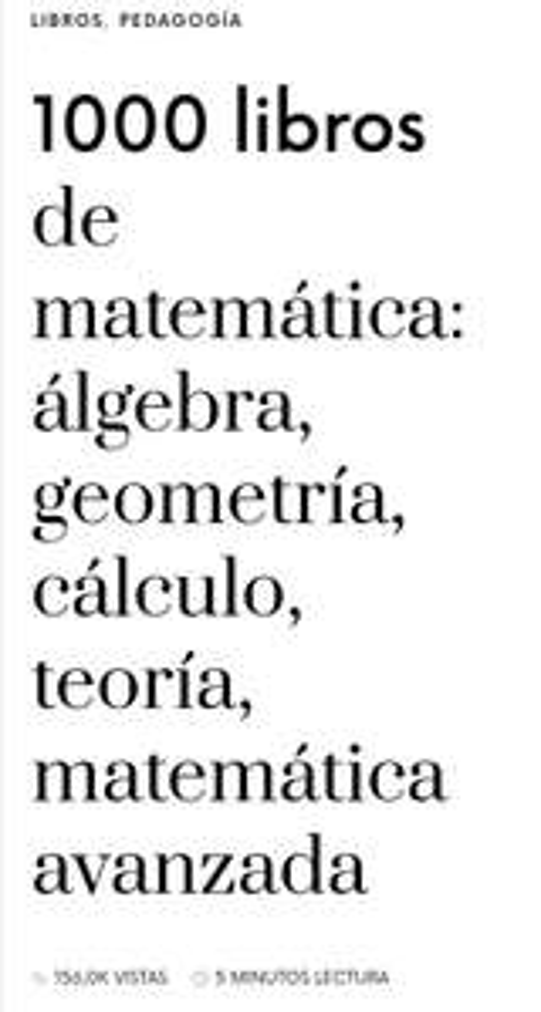 1000 libros gratis de matemáticas, álgebra, cálculo, etc. En web del maestro