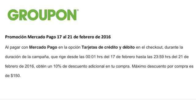 Groupon: 10% de descuento adicional pagando con MERCADO PAGO