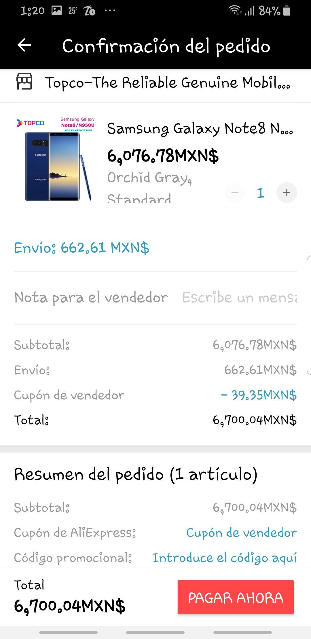 AliExpress: Samsung Galaxy Note 8 N950U (snapdragon 835)