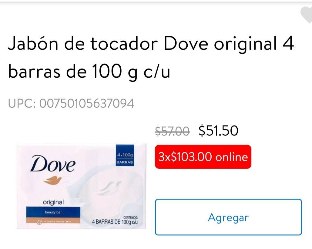 Walmart Súper: Tres Paquete de 4 Jabones Dove Clásico 12/100g a $103 ($8.58 pieza)