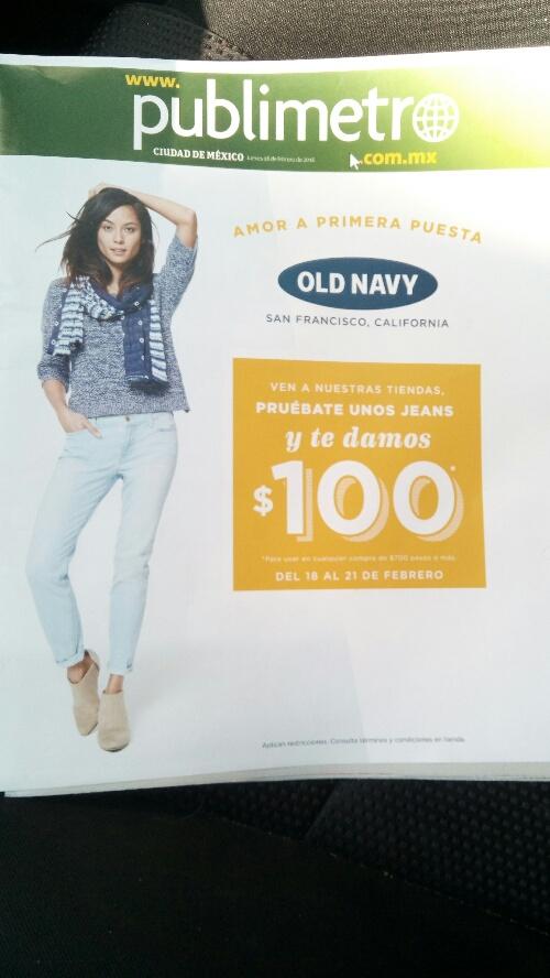 Old Navy: Pruébate unos jeans en tienda y te dan un cupón de $100