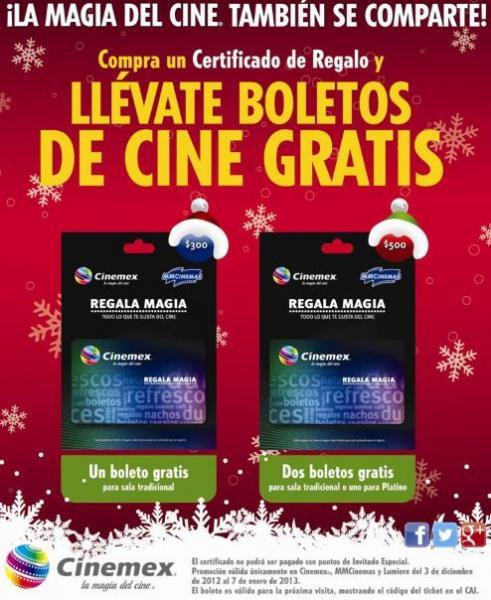 Cinemex: boletos gratis comprando tarjeta de regalo
