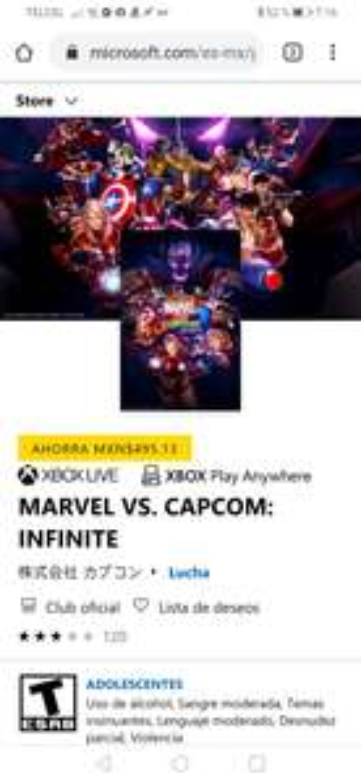 Microsoft Sotre: Marvel vs Capcom infinite (precio con Gold)