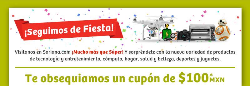 Soriana en línea: $100 gratis con cupón sin mínimo de compra