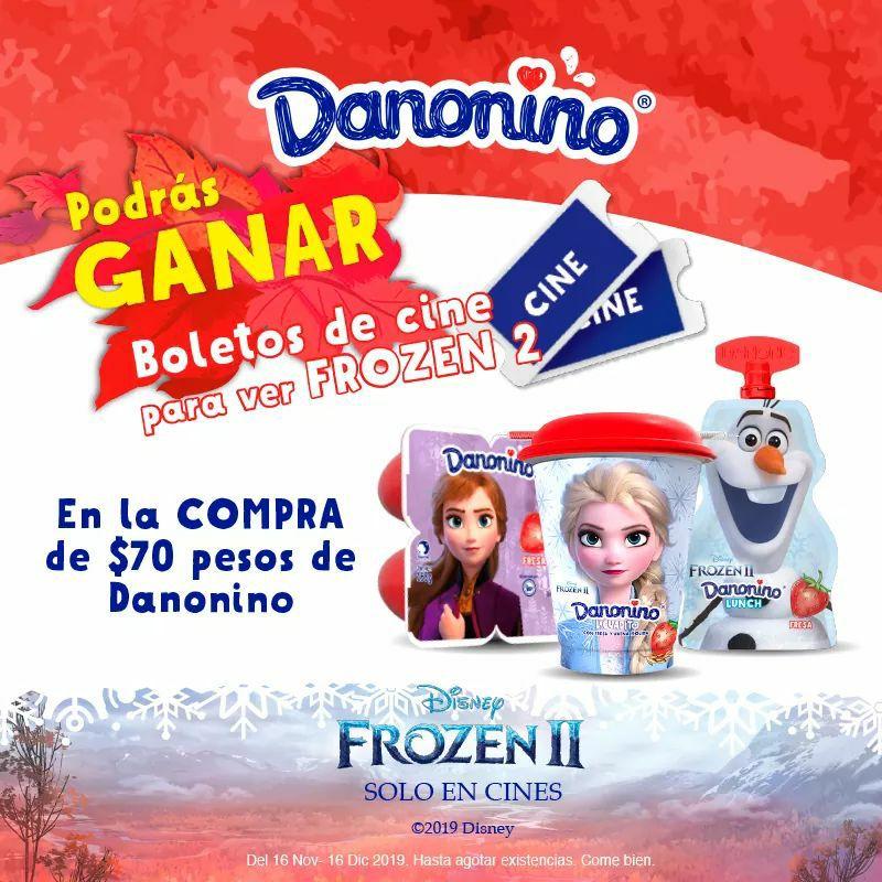 Compra $70 en producto Danonino y recibe pase doble y combo mediano para Frozen II
