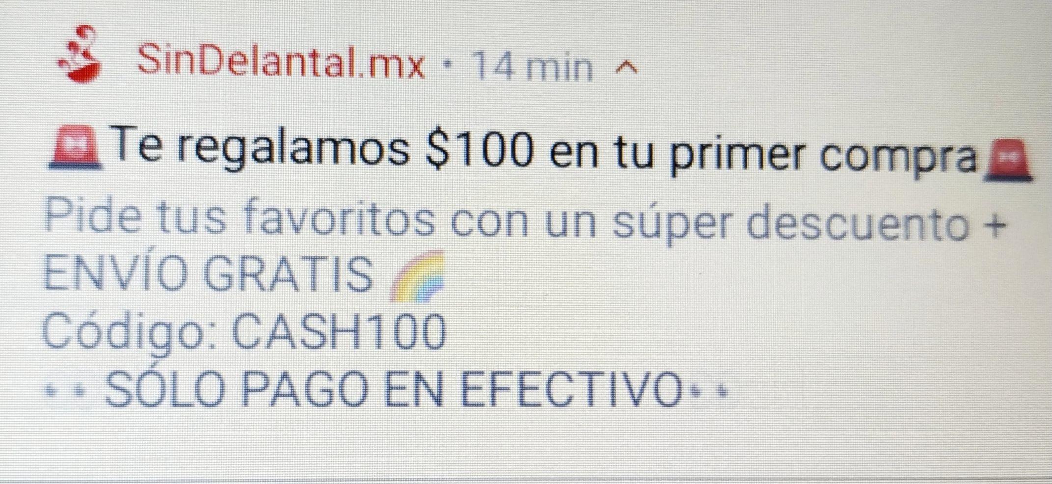 SinDelantal: $100 de descuento + envío gratis pagando con efectivo (nuevos usuarios)