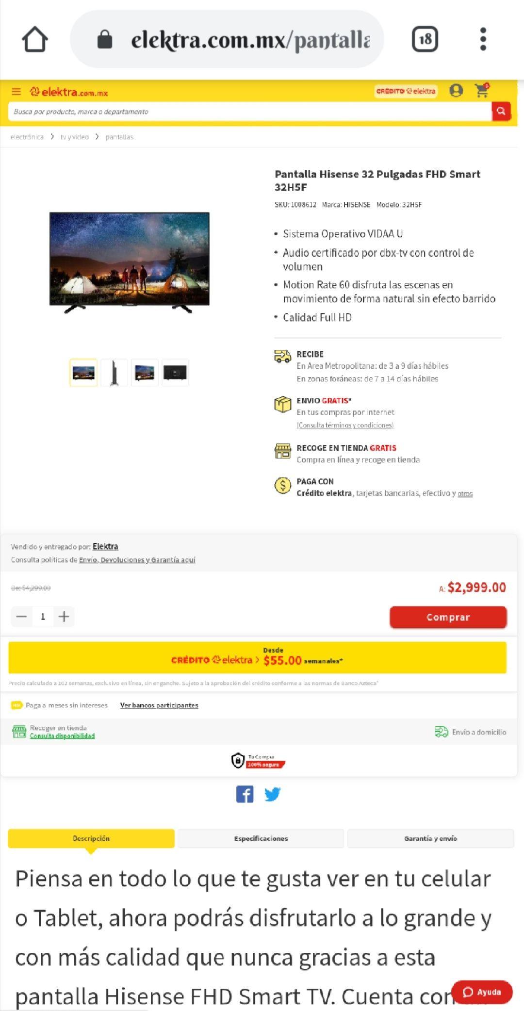 Elektra: Smart TV Pantalla Hisense 32 Pulgadas FHD Smart 32H5F
