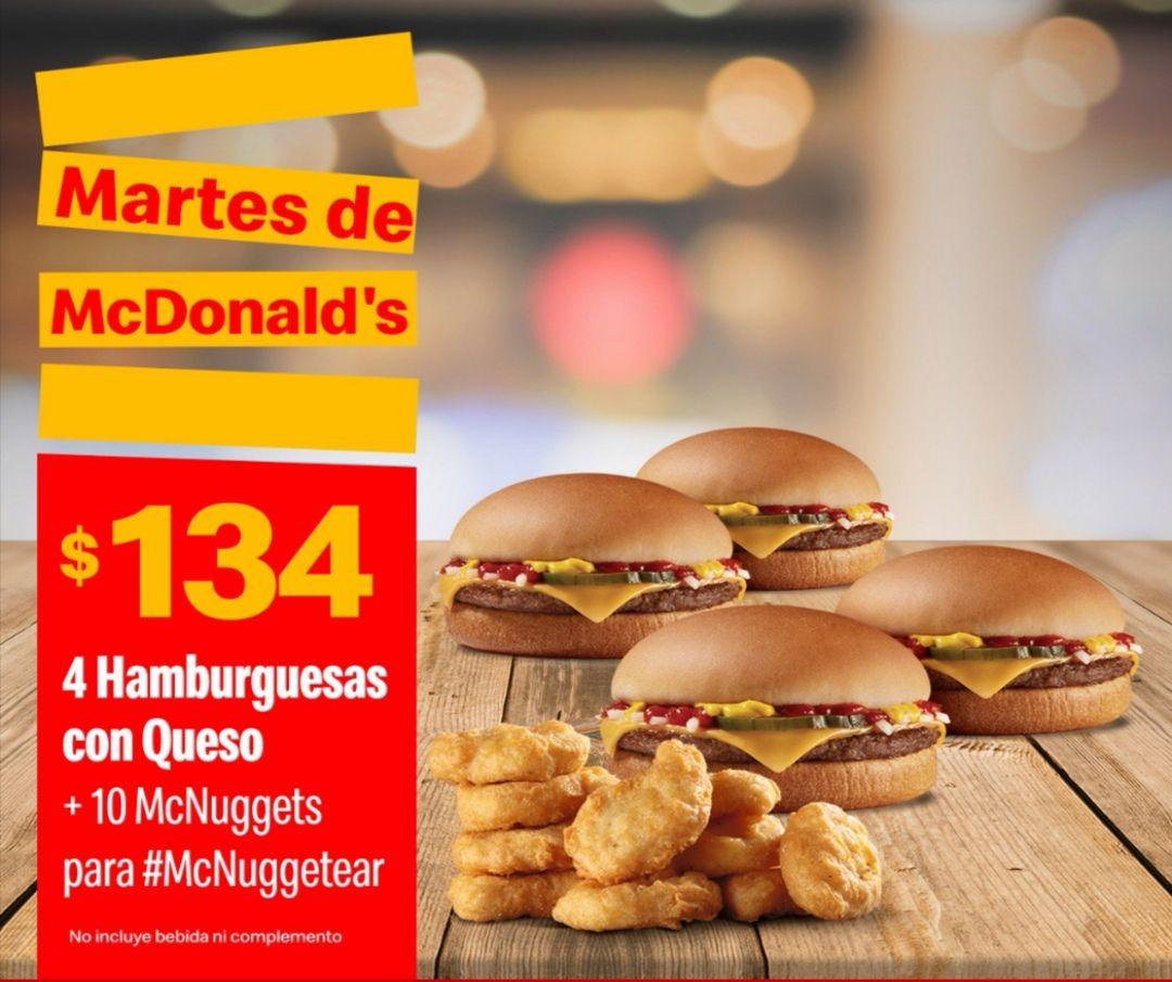 McDonald's: Martes de McDonald's Comida 26 Noviembre: 4 Hamburguesas con Queso + 10 McNuggets $134