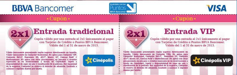 Cinépolis: 2x1 en boletos para sala normal y VIP con Bancomer