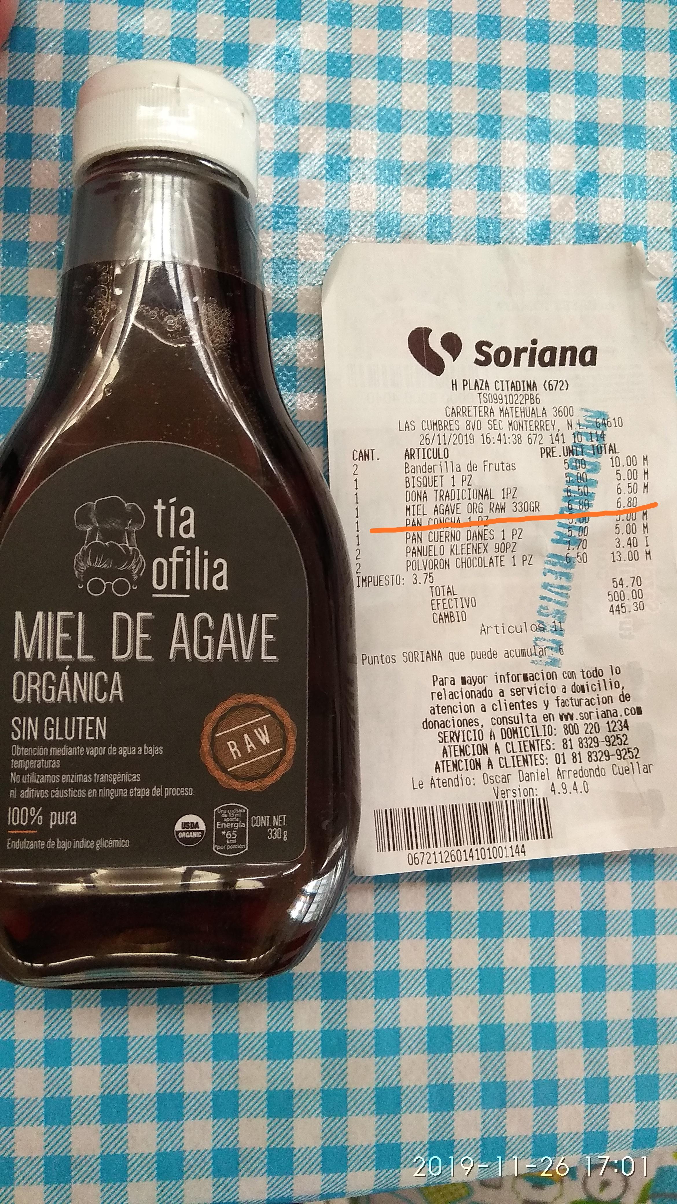 Soriana HIPER CITADINA , S. L. P.: Miel de agave