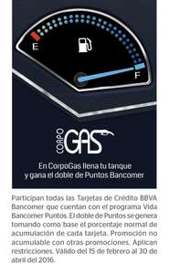 Bancomer: Puntos dobles en gasolineras Corpogas hasta el 30 de abril de 2016