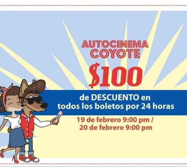 Autocinema Coyote: $100 de descuento