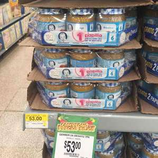 Walmart en línea y Bodega Aurrerá: papillas de frutas gerber pack especial 2 unidades gratis a $53