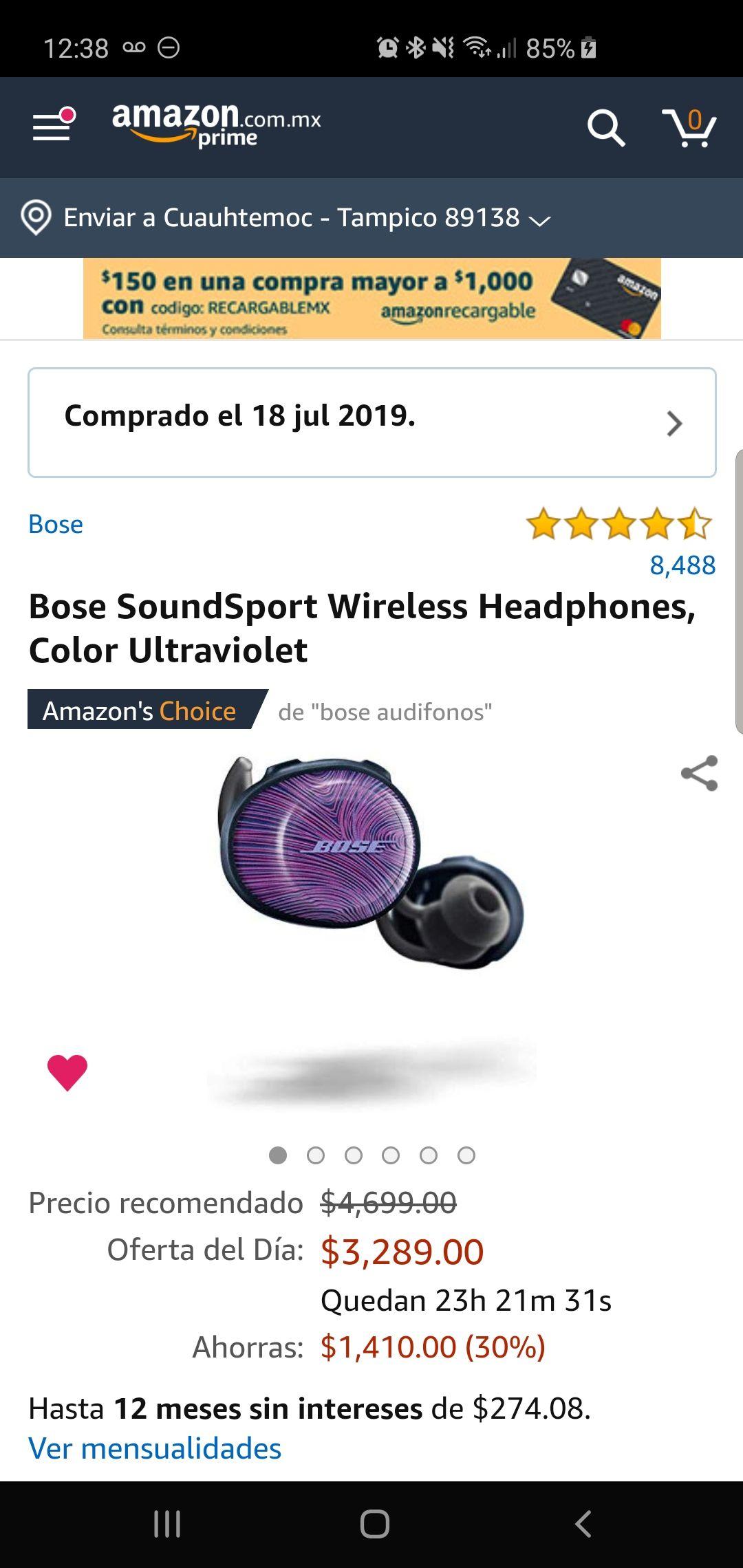 Amazon: Bose SoundSport Wireless Headphones, Color Ultraviolet
