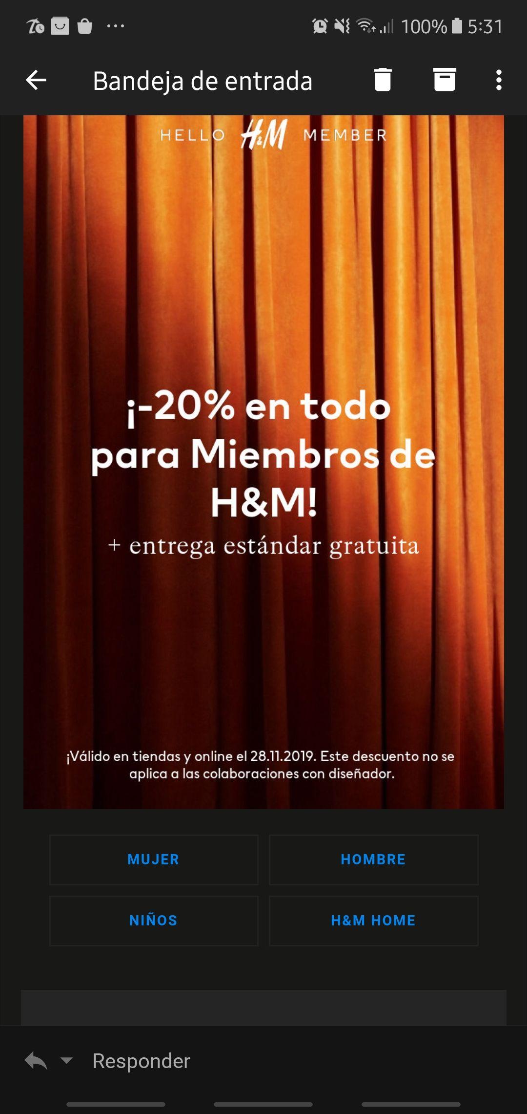 20% en toda la tienda a miembros H&M