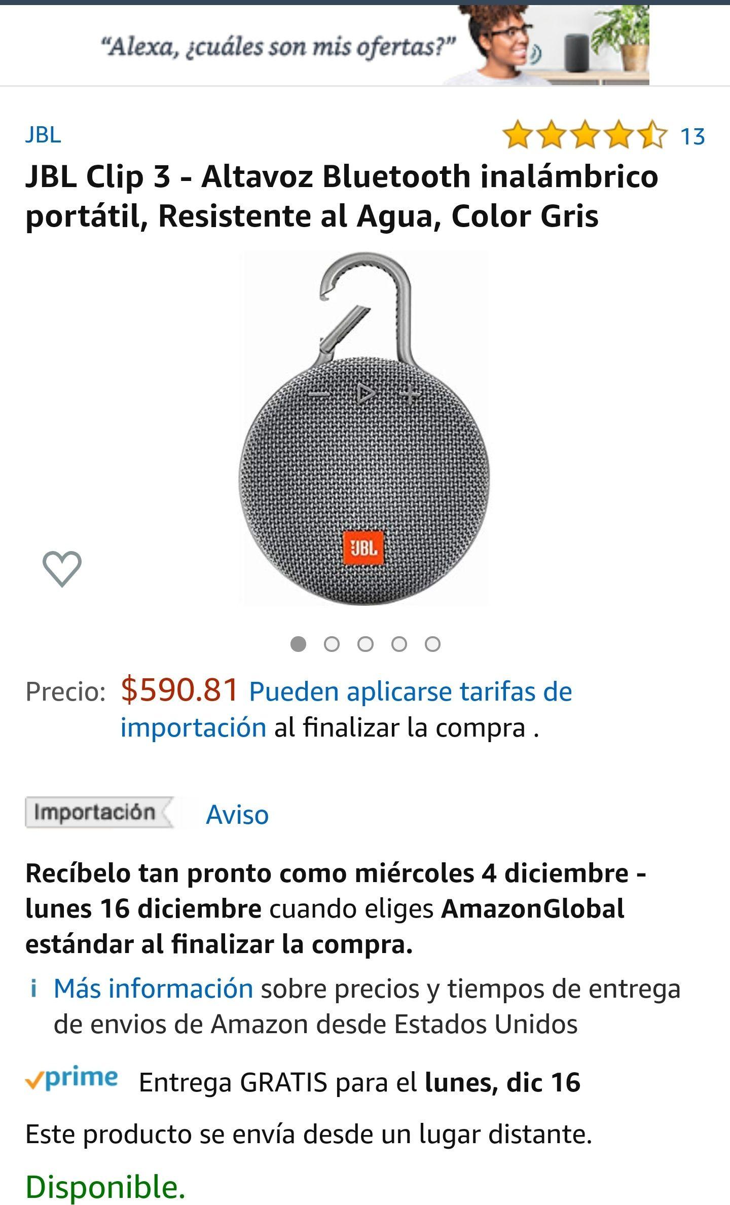 Amazon: Bocina Bluetooth JBL Clip 3 en 590 pesos colores gris, negro y rosa.