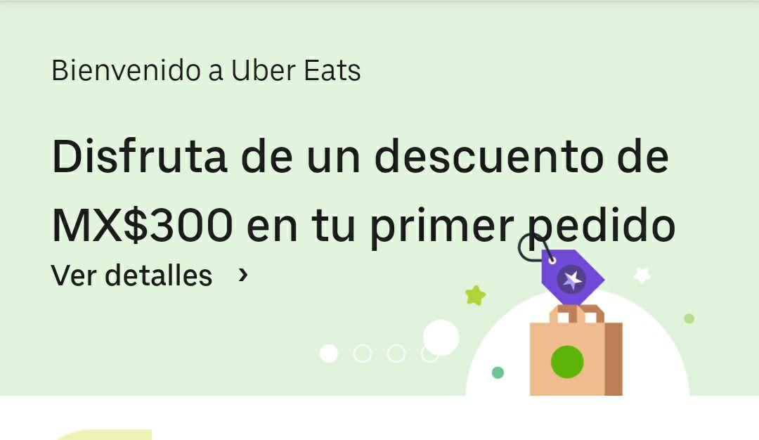 300 de descuento en Uber eats en primer pedido
