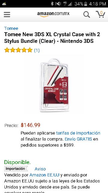 Amazon: crystal case con stylus para new 3DS XL