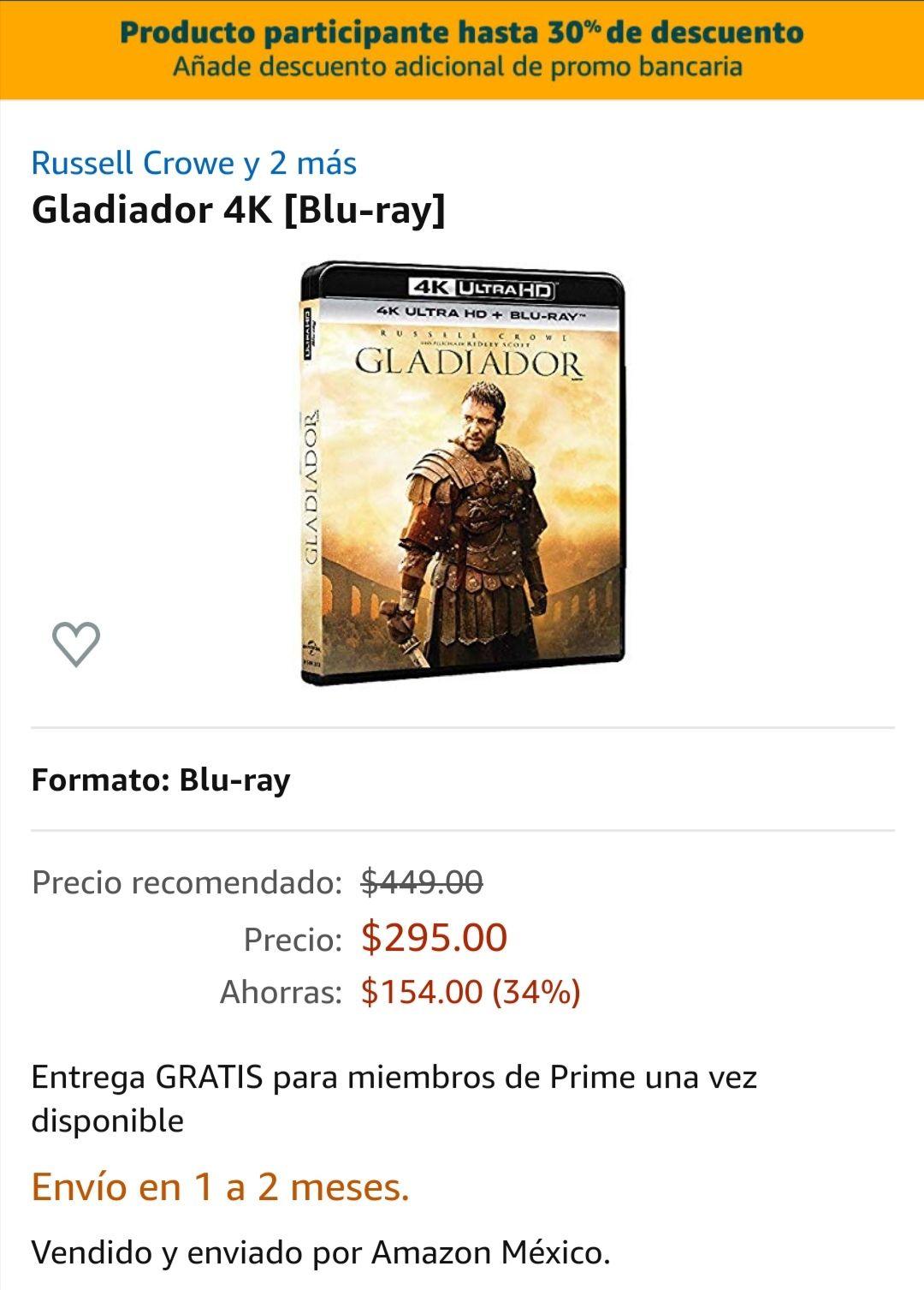 Amazon: El gladiador 4K de nuevo disponible