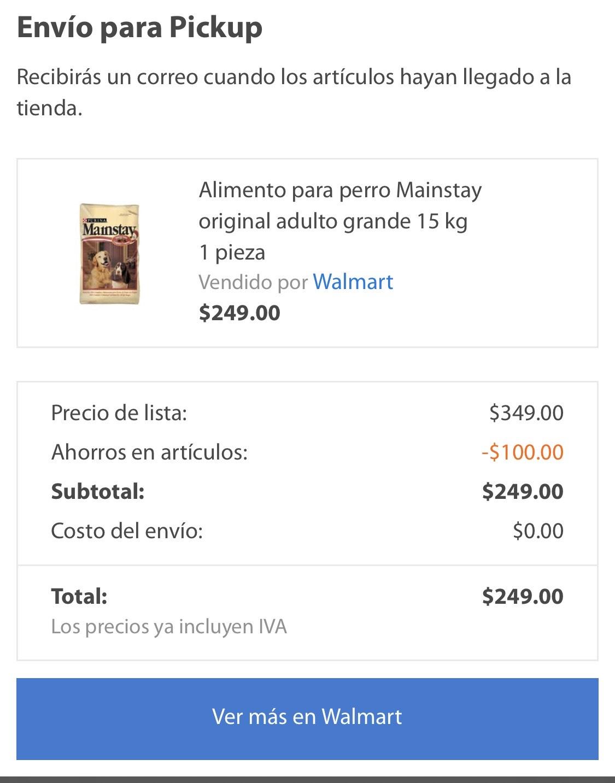 Walmart: Alimento para perro Mainstay 15 kg