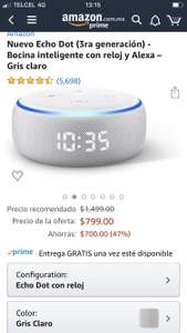 Amazon: Echo Dot 3 con Reloj