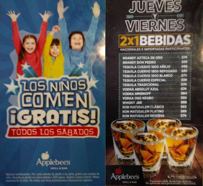 Applebee's: niños comen gratis los sábados y 2x1 en bebidas entre semana