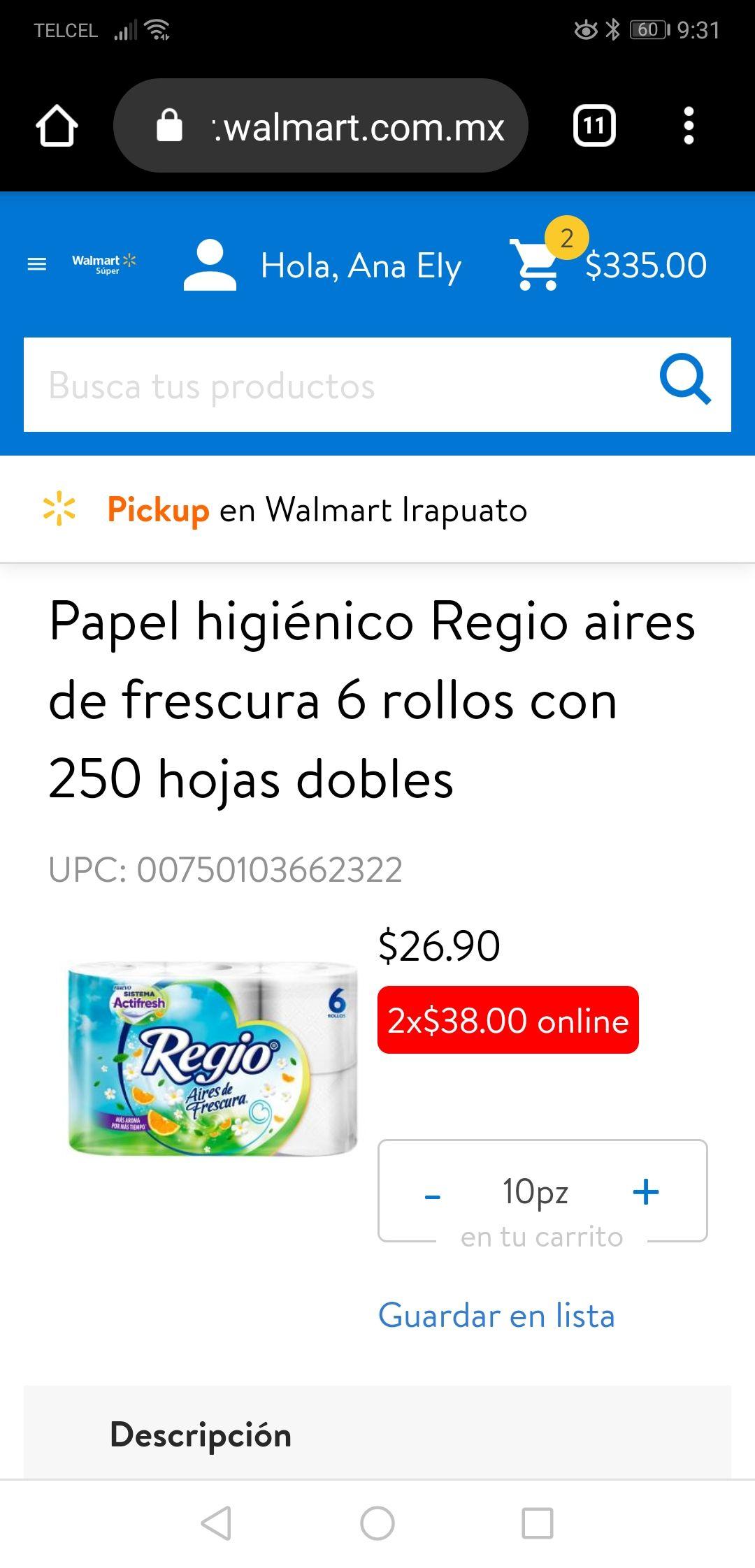 Walmart en línea, 2 paquetes de papel higiénico regio con 6 rollos de 250 hojas dobles.