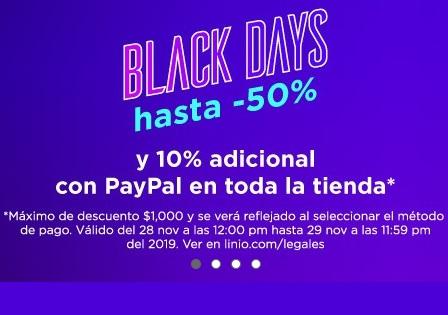 Linio: Black Days hasta 50% y 10% adicional con Paypal en toda la tienda