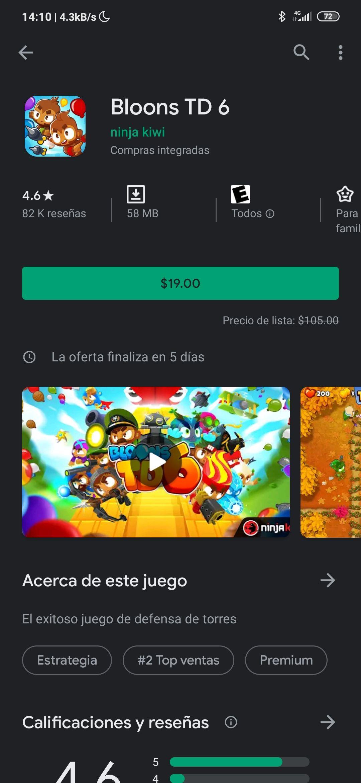 Google Play: BTD 6 OFERTA