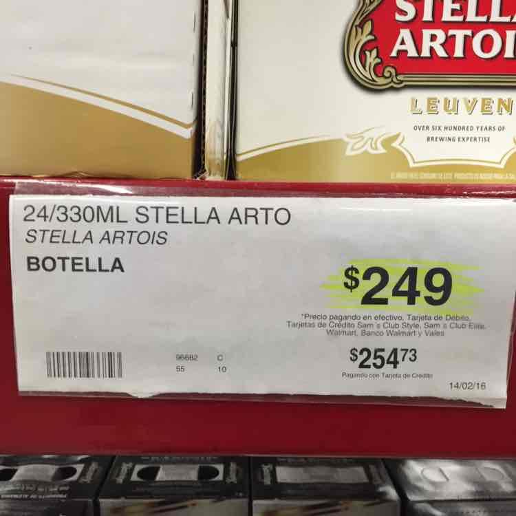 Sam's Club Cuernavaca: Caja con 24 cervezas Stella Artois a $249