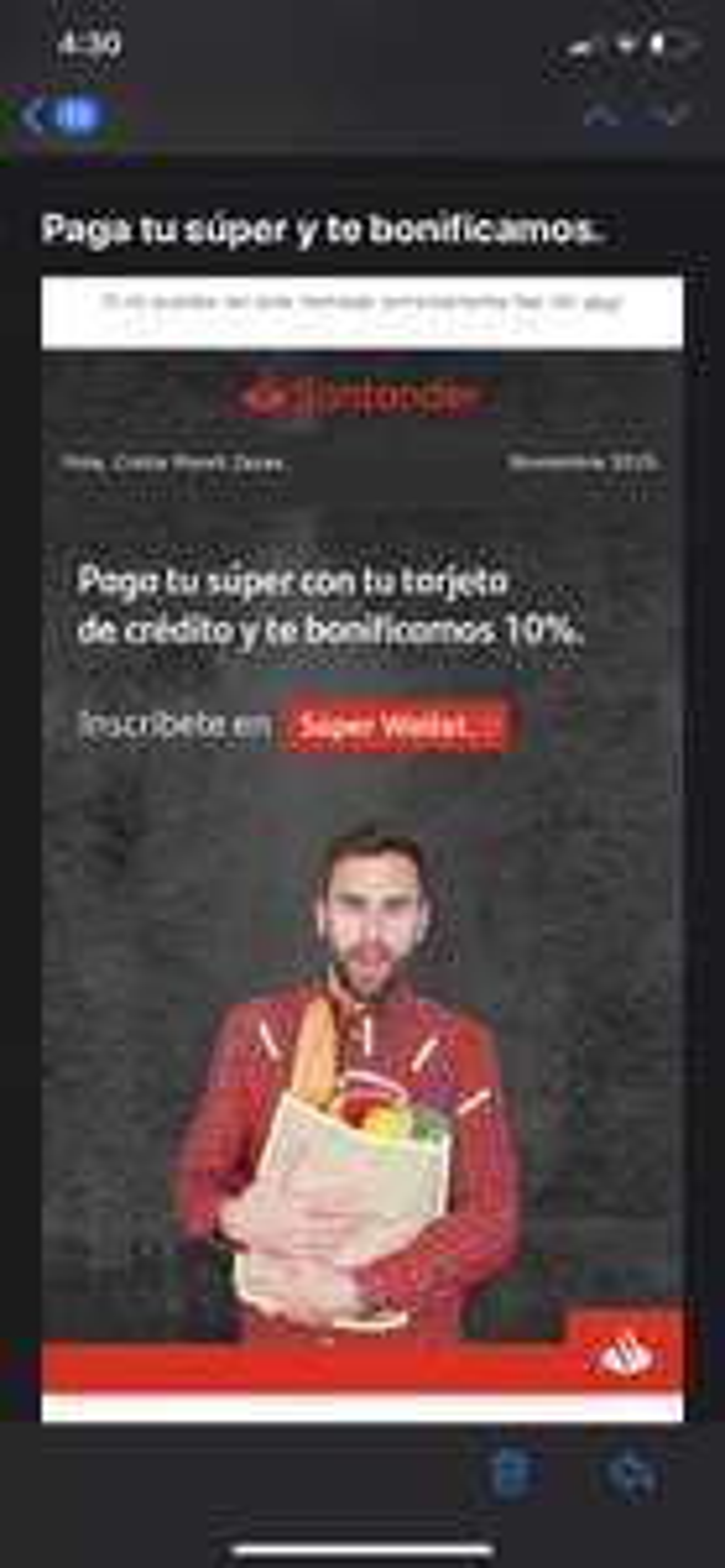 Santander: bonificación pagando el súper con tarjetas Santander en tiendas participantes (mínimo $3000)