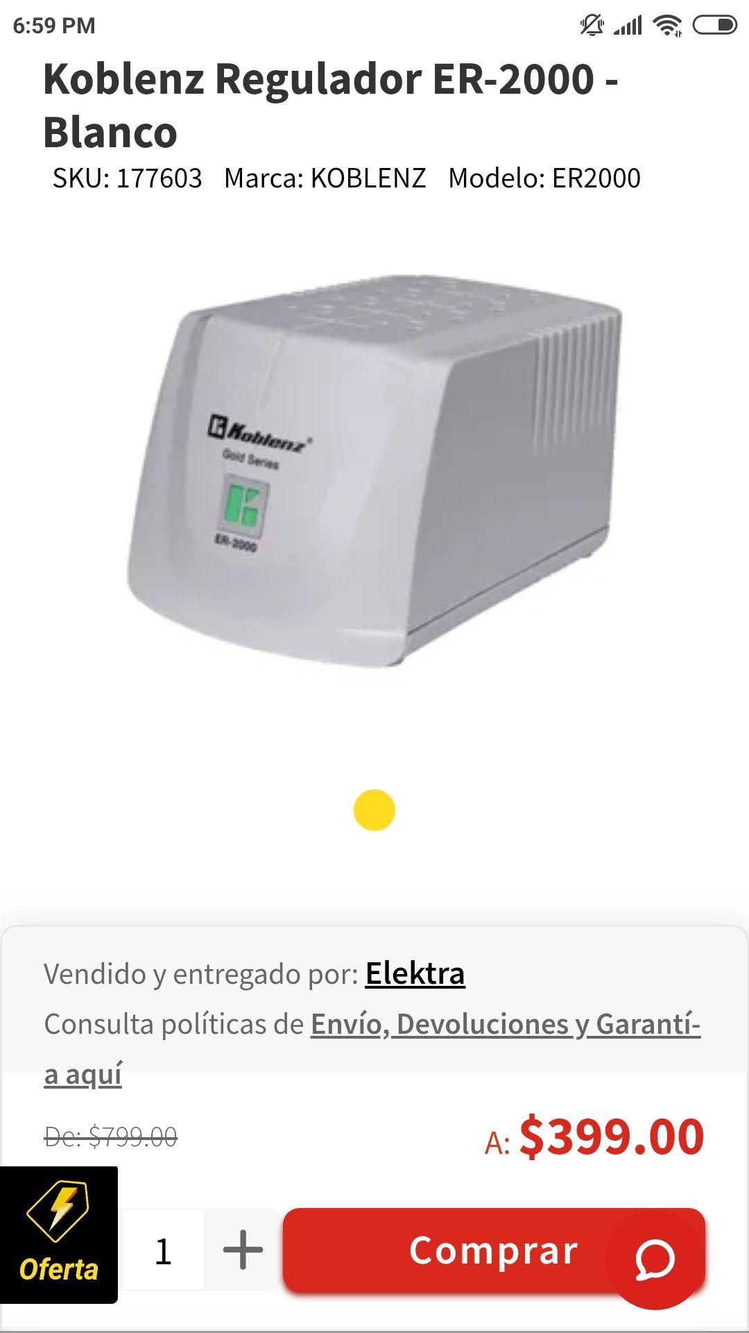 Elektra: regulador Koblenz ER-2000 - Blanco