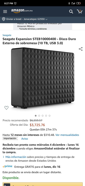 Amazon: Disco Duro Seagate de 10TB