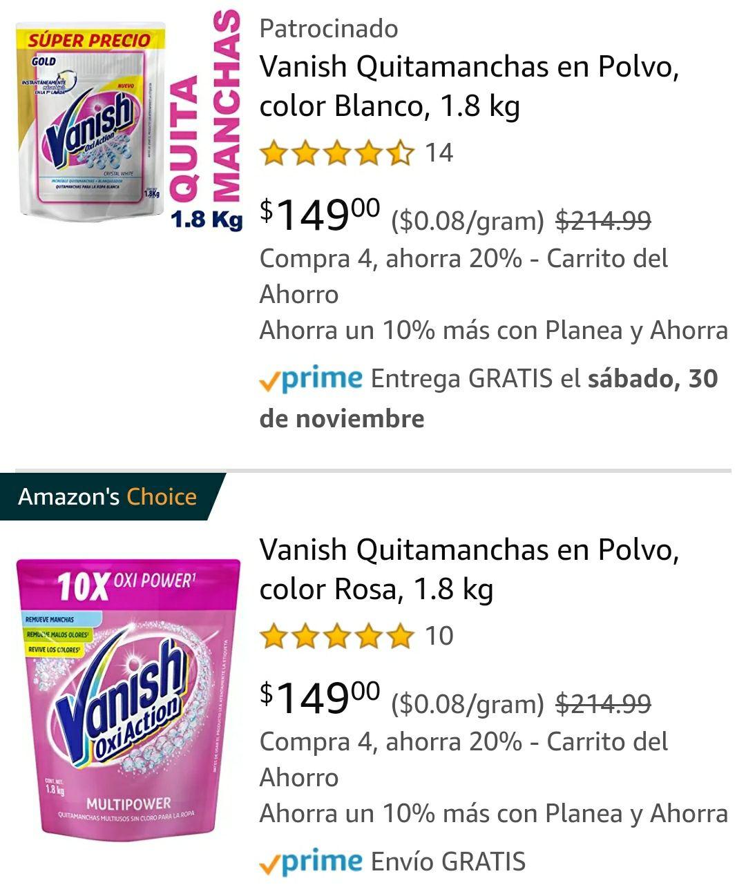 Amazon: Vanish en polvo de 1.8kg