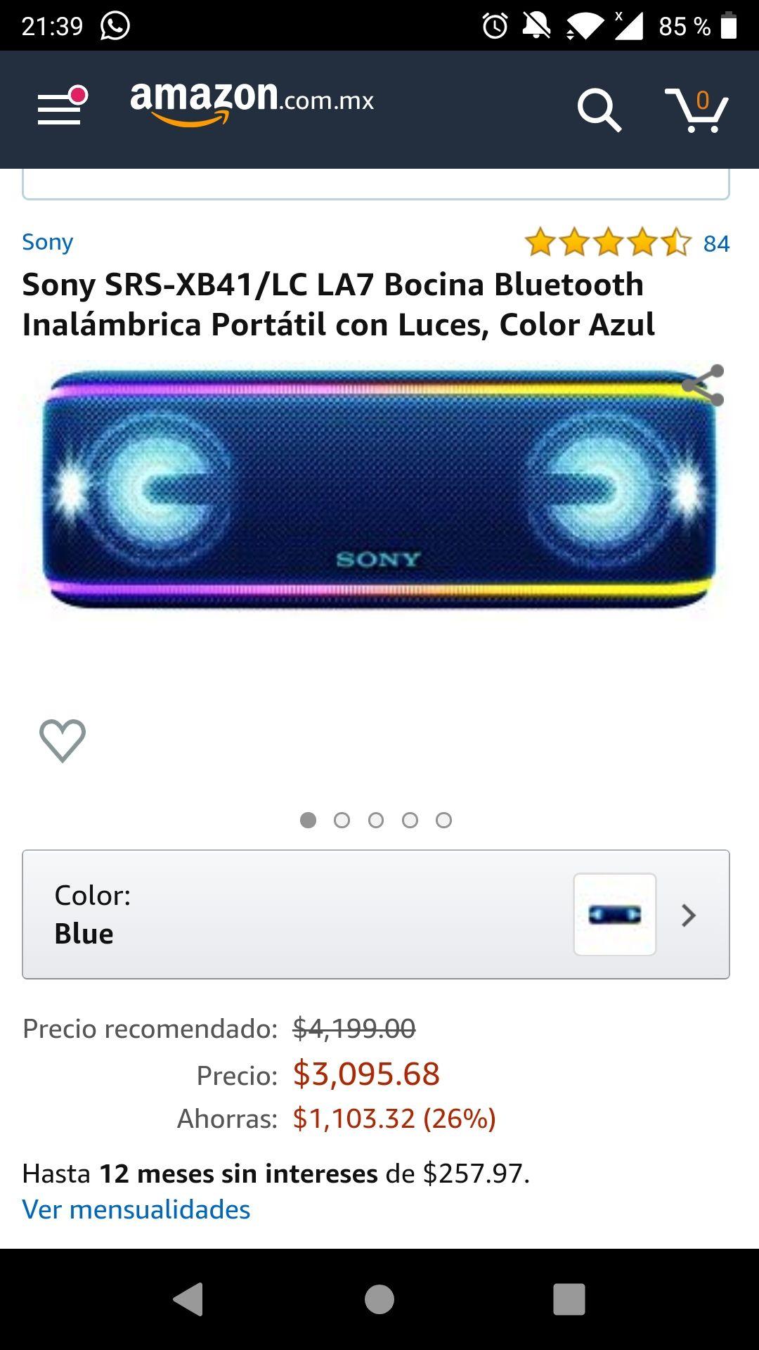 Amazon: Sony SRS-XB41/LC LA7 Bocina Bluetooth Inalámbrica Portátil (pagando con Banorte o AMEX)