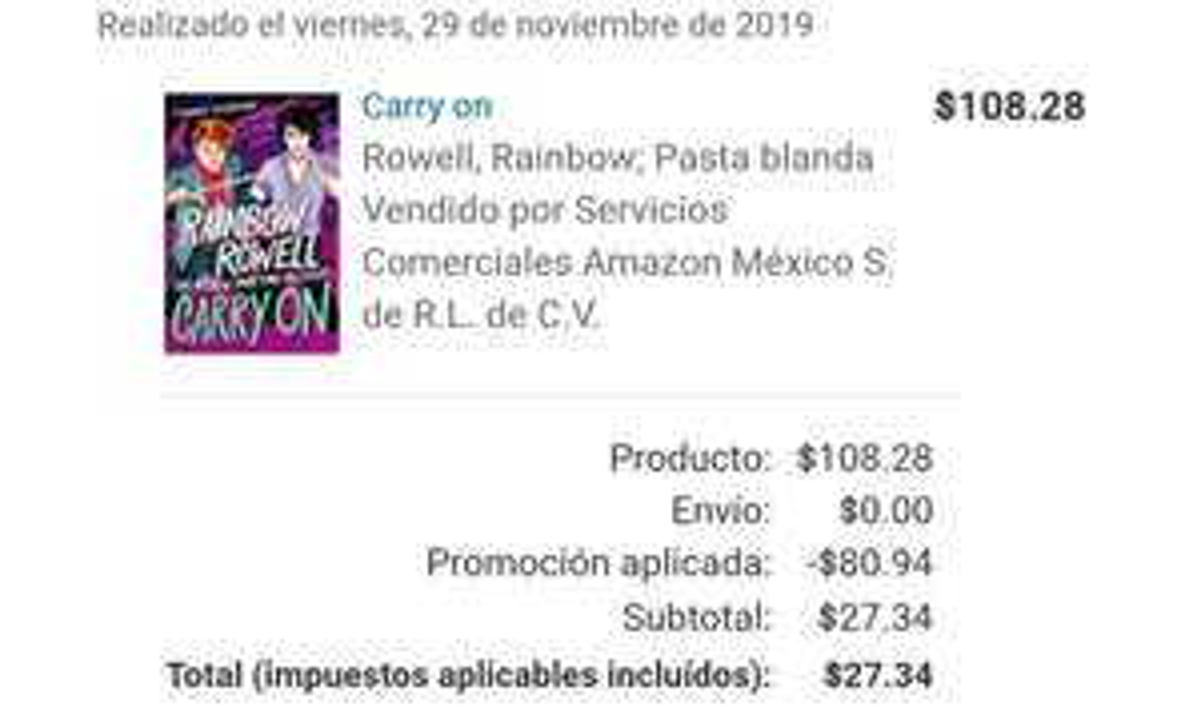 Amazon: Libro Carry On de Rowell Rainbow
