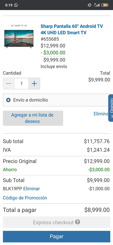 "Costco: Pantalla Sharp 4K 60"" Android TV (pagando con PayPal)"