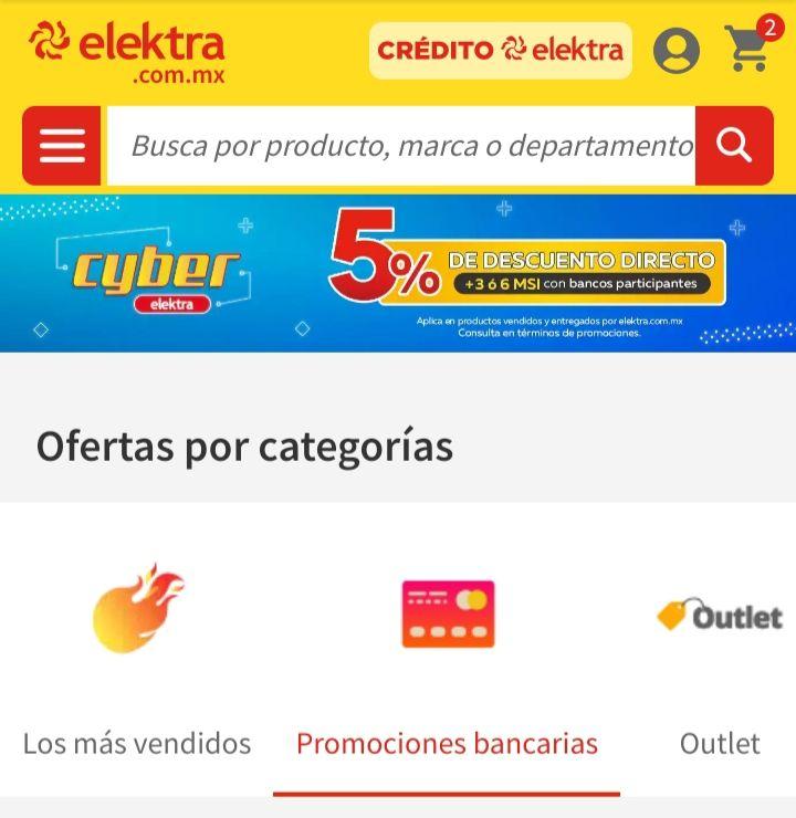 Elektra: Promociones bancarias para Cyber Elektra