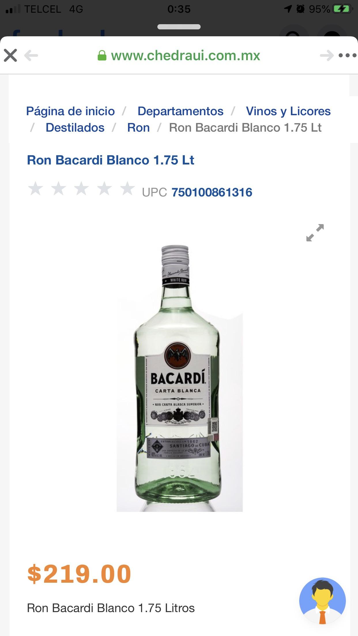 Chedraui: Bacardi blanco de 1.75 L.