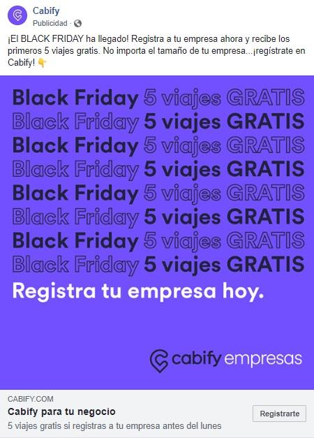 Black Friday Cabify Empresas. Obtén 5 trayectos gratis de $200 al crear tu cuenta corporativa en Cabify